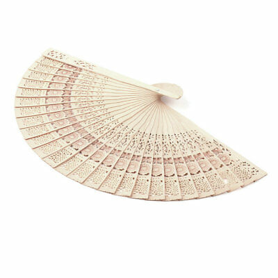 Retro Hollow Folding Wooden Hollow Carved Foldable Hand Fan Gifts BC