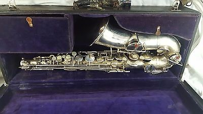 Antique Silver Buescher True Tone Low Pitch Saxophone Dec 8 1914 w Case RARE
