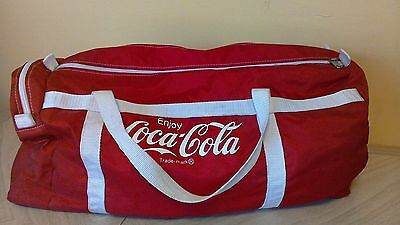 Vintage Coca-Cola Duffle Gym Carry-On Bag apprx. 20 x 10 Red with White