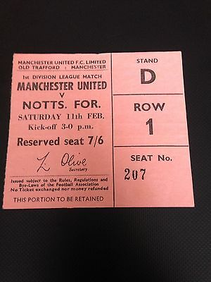 1966/67 Manchester United V Notts Forest Ticket Title Winning Year Good Cond