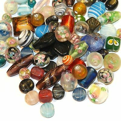 GL3725 Assorted Color, Size & Shape 8-35mm Lampworked Glass Bead Mix 8oz