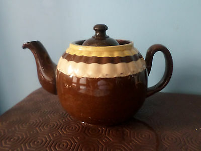 Vintage Brown / Yellow Pottery Teapot, 1 pint, Made in England