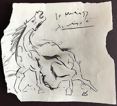 Picasso Original Pen Ink Hand Signed Drawing Fantasy Horse