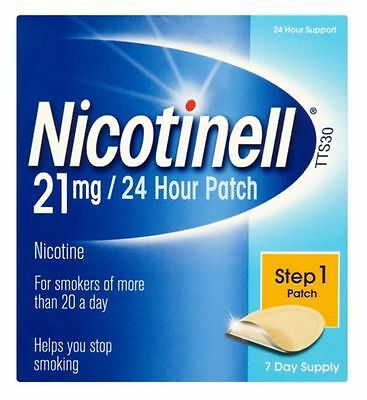 Nicotinell Nicotine 21mg 24 Hour Patches Step 1 (7) Day Supply Total Of 8 Boxes
