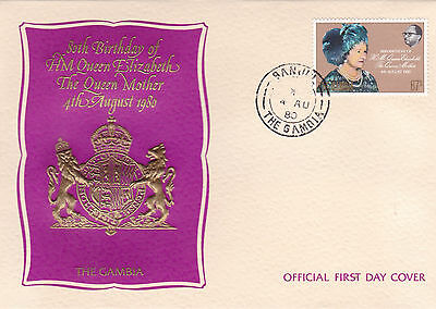 The Gambia 1981 Queen Mother 80th Birthday Unadressed FDC