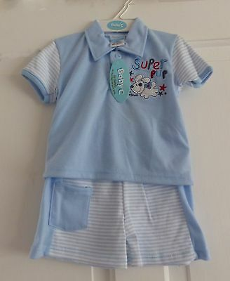 baby boys polo  shirt and short set blue /white 3/6 months