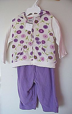 baby girls three piece set in lilac and cream size 6 / 9 months