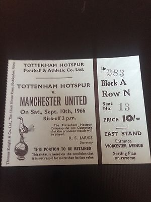 1966/67 Spurs V Manchester United Ticket Title Winning Year Good Condition