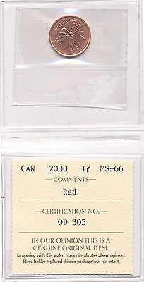 2000 Canada 1 Cent Iccs Graded Ms-66