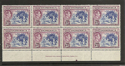 DOMINICA 1947  Three and a half pence  SG104a unmounted mint imprint block