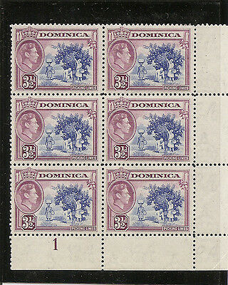DOMINICA 1947  Three and a half pence  SG104a unmounted mint plate block