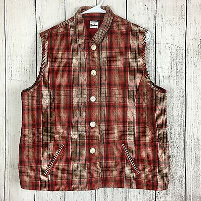 Southern Lady Women's Red Plaid Cotton Poly Sleeveless Vest Size XL
