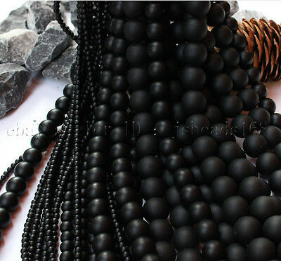 Natural Matte Black Onyx Gemstone Round Beads 15'' 3mm 4mm 5mm 6mm 8mm 10mm 12mm