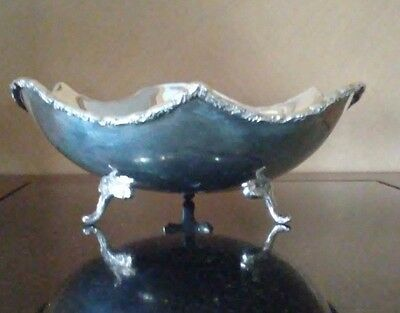 Solid Sterling Silver Scallopped Edge Free Form Footed Bowl
