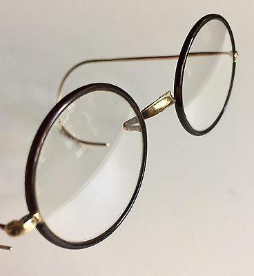 Round Vintage Eyeglasses Gold & Brown Windsor Lennon Style Antique Frames