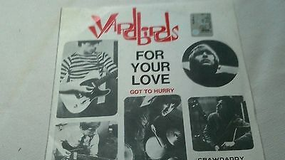 Disco Venile 45 giri, Yardbirds ,For Your Love, Peace and Love Collection