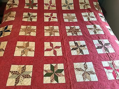 Antique Vintage Red Quilt Feed Sack 8 Point Star Hand Stitched