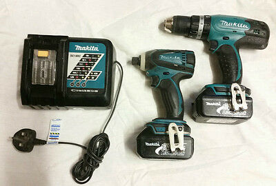 MAKITA 18v LXT Li ion Drill, DTD146 Impact Driver set Charger 2 x 3AH Battery