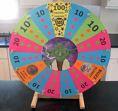 """24"""" Tabletop White Dry Erase Fortune Prize Wheel 15Slots Wood Stand Spinning"""