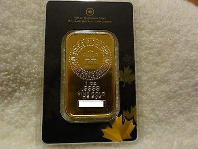 1 oz Royal Canadian Mint Gold Bar New Untouched .9999 fine in assay