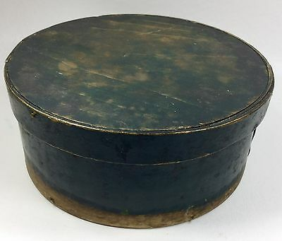 """Antique Wooden Pantry Box w/ Lid – Old Green Paint Country Primitive AAFA 6 1/2"""""""