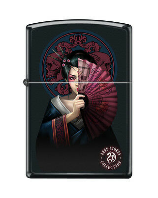 Zippo 0576, Anne Stokes-Geisha Woman With Fan, Black Matte Finish Lighter