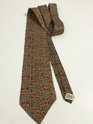 Gap Men's 100% Silk Necktie Golden Brown Maroon Red Made In Usa New Without Tag