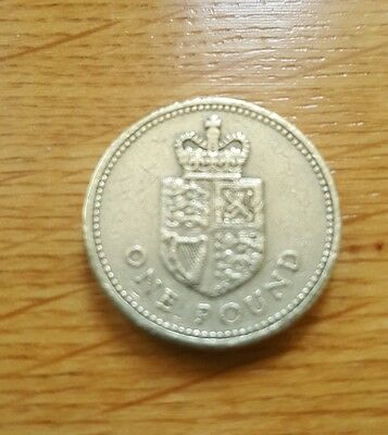 1988  shield of the royal arms One Pound Rare, circulated