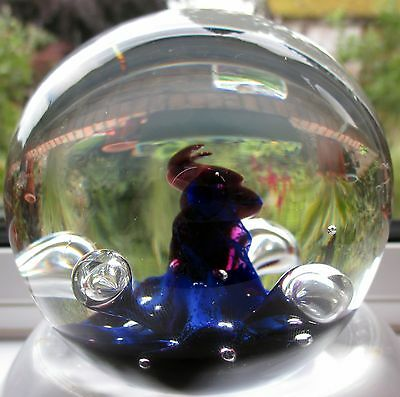 Caithness Large Moonflower Purple/Blue Paperweight by Colin Terris