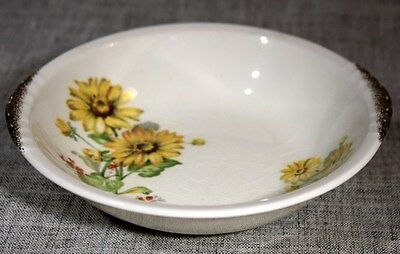 "PADEN CITY POTTERY USA ""Shell Krest Yellow Daisies PCP193"" Fruit Bowl 1940s"
