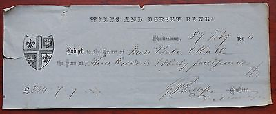Wilts & Dorset Bank, bank deposit receipt dated 1864, some tears at edges AVF