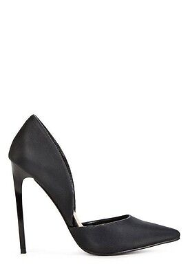 High Heels, Pumps, Stiletto, 11, Black, Textured, d'Orsay, New, JustFab