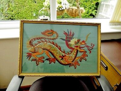 Vintage Chinese Four Clawed Dragon Needlepoint Picture