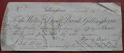 Wilts & Dorset Bank Gillingham, used cheque dated 1845, a little scuffed AVF