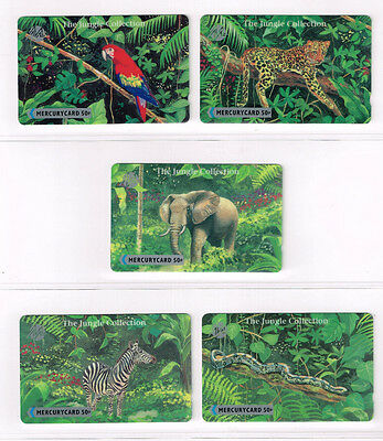 Great Britain, 5 x Mercurycards, telphone cards, jungle collection