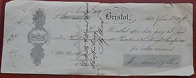 """Four Months after pay"" cheque, Bristol dated 1878, to The Wilts & Dorset Bank"