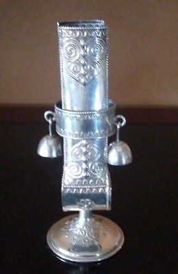 Antique Jewish Ceremonial Silver Detailed Candle Holder Sleeve w/ Bells