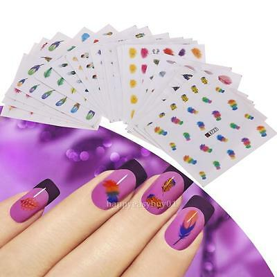 24X Rainbow Feather Nail Water Transfer Stickers Art Decal Manicure Decoration