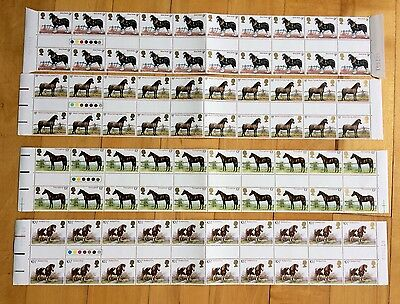 Great Britain 1978 Horses #839-842 4 Se-Tenant Stamp Strips 20 stamps each MNH