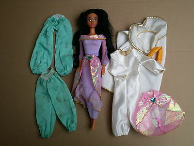 Disney Princess Jasmine Water Jewel 1993 Doll & Aladdin Cloths Outfit Bundle TLC