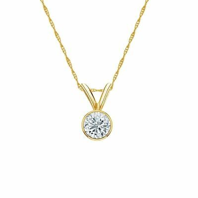 14K Yellow Gold Bezel Round-Cut Diamond Solitaire Pendant 1/4ct G-H, SI2 w/Chain