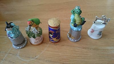 Set of 5 quirky Thimbles. One bird of Paradise.