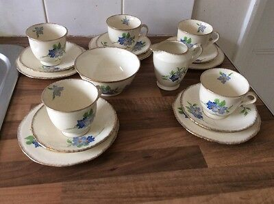 Royal Crown Staffordshire Teaset With Blue Flowers