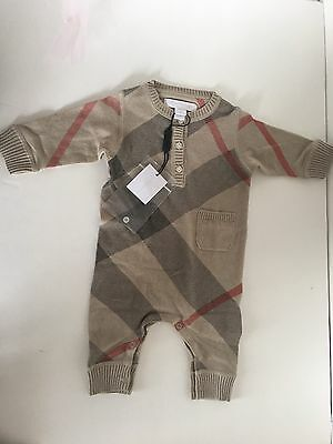Authentic NWT Burberry Baby  Romper  Check Jumper Tan Classic Size 3 Months