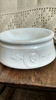 "Antique White Ironstone Spittoon W/ Two Faces 1800""s Rustic Shabby Chic"