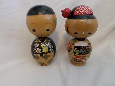 "Kokeshi Pair 6"" Antique Nodder Wooden Dolls Vintage Wood Girl & Boy"