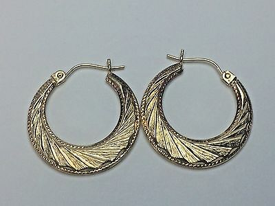 "14K Yellow Gold High Polished Textured Diamond Cut Flat Round 1"" Hoop Earrings"