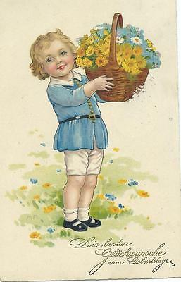 Marie Flatscher  Boy with basket of flowers. M & Buch