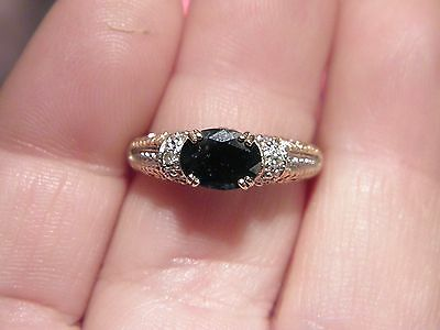 10k Yellow and White Gold Sapphire and Diamond Accent Ring sz 9   3.1g