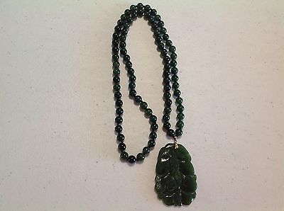 Antique Chinese Imperial Green Jade Jadeite Necklace